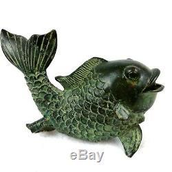 Hand Cast Koi Fish Garden Sculpture Bronze Water Fountain Statue Metal Spitter