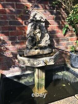 Heavy Garden Stone Fish Pond Wall Fountain Water Feature Woman With Cherubs