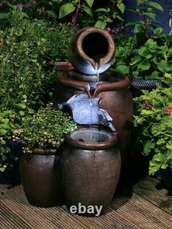 Honey Pot Cascading Jugs Fountain Garden Planter Water Feature with LED Lights