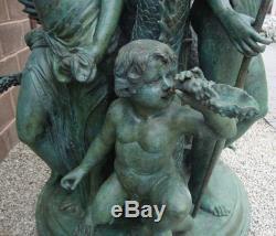 Huge Bronze Neptune Fountain / Water Feature 334cm High Verdigris Finish