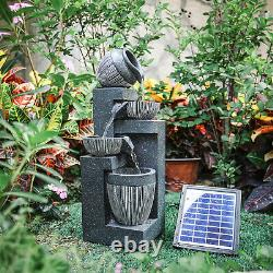 In/Outdoor Water Fountain Feature LED Lights Garden Statues Decor Solar Powered