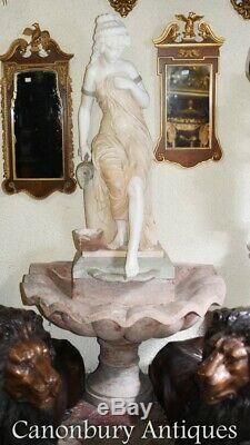 Italian Marble Fountain Female Figurine Conch Font Water Feature