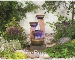 Kelkay Azure Columns Water Fountain with LED, Outdoor Fountain, Garden Fountain