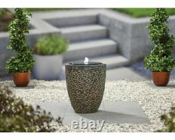 Kelkay Tumbled Stone with lights Water Feature, garden fountain SOLAR POWERED