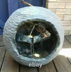 LED Bowl Rock Fountain Grey Garden Water Feature Ornament Lights Waterfall 2021