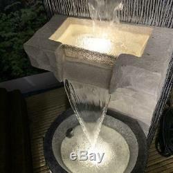 LED Lit 2 Fall Cascade Garden Water Feature Fountain Ideal Outdoor Decor Idea