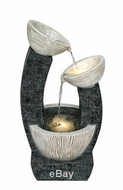 LED Lit Alvor Pouring Bowls Cascading Garden Water Feature Outdoor Fountain