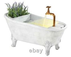 LED Lit Bathtub Water Feature with Removable Planter Garden & Patio Fountain