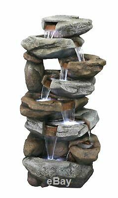 LED Lit Oklahoma Rock Falls Cascading Garden Water Feature Fountain Ideal Gift