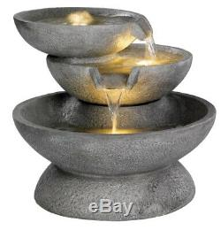 LED Lit Three Bowl Grey Water Feature Fountain for Garden, Patio & Outdoors