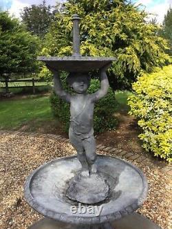 Large Antique Lead Three Tier Cherub Water Fountain Garden Water Feature