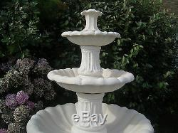 Large Barcelona 6'10 Tall White Stone Outdoor Garden Water Feature Fountain