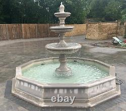 Large Brecon Pool Surround 3 Tiered Edwardian Stone Garden Water Fountain Featur