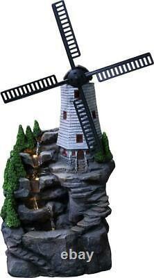 Large Garden Fountain Water Feature Pump LED Light Cascade Windmill Statue Decor