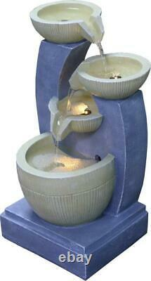 Large Garden Fountain Water Feature Pump LED Lights Cascade 3 Tier Statue Decor