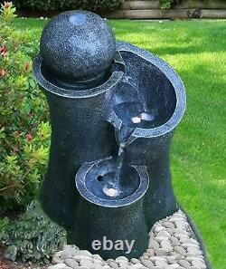 Large Garden Fountain Water Feature Pump LED Lights Cascade Ball Statue Decor 40