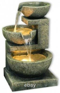 Large Garden Fountain Water Feature Pump LED Lights Cascade Bowl Statue Decor 49