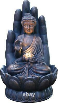 Large Garden Fountain Water Feature Pump LED Lights Cascade Buddha Sculpt Decor