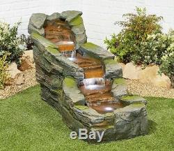 Large Garden Fountain Water Feature Pump LED Lights Cascade Rock Statue Decor