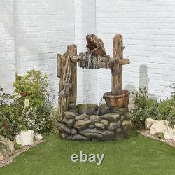 Large Garden Fountain Water Feature Pump LED Lights Cascade Well Statue Decor UK