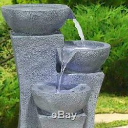 Large Grey Cascading Outdoor Garden Bowl Fountain Water Feature with LED Lights