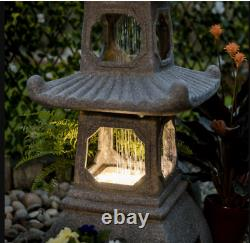 Large Pagoda Oriental Garden Water Feature LED Lights Fountain COLLECTION
