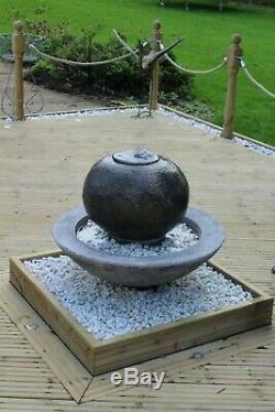 Large Patio Ball Fountain Garden Ornament Water Feature Solar Pump