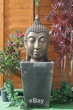 Large Stone Calming Buddha Head Water Fountain Statue Feature Garden Ornament