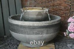 Large Stone Circulum Water Fountain Garden Ornament Patio Self Contained Feature
