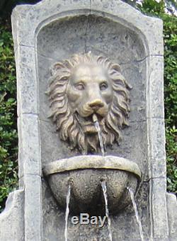 Large Stone Garden Outdoor Lion Wall Water Fountain Feature Solar Pump