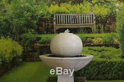 Large White Limestone Ball Fountain Garden Ornament Water Feature Solar Pump