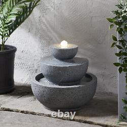 Light Grey Stacked LED Fountain Garden Water Feature 27cm Plug In Lights4fun