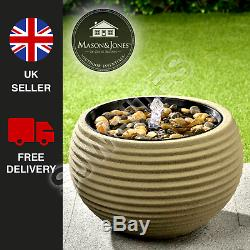 Light Up Ribbed Water Feature Natural Garden Decorative Fountain FREE P&P