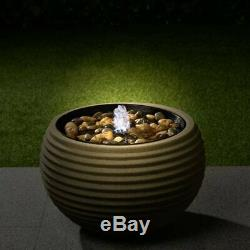 Light Up Ribbed Water Feature Rib Effect Natural Garden Decorative Fountain