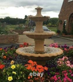 Medium Barcelona 3 Tiered Stone Outdoor Garden Fountain Water Feature Ornament
