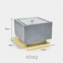 Modern LED Cube Water Feature Square Stone Effect Outdoor Garden Patio Fountain