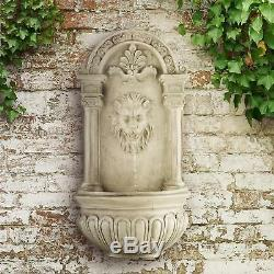 Modern Wall Mounted Water Fountain Garden Home Decor 200 L/ H Pump Led Lion Look