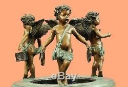 NEW Bronze Garden Fountain Outdoor Deco Water Bird Bath Birdbath 3 Angels Deal