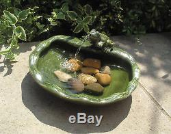 NEW Glazed Ceramic Water Feature Garden Green Frog Fountain Solar Power Sink