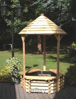 New Garden Wishing Well & Fountain 6ft 7 + Pump Liner Outdoor Water Feature