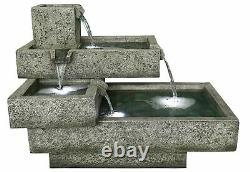 Oakland Stacked Troughs Garden Water Feature Outdoor Fountain