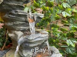 Open Crystal Falls Woodland Garden Water Feature, Solar Fountain Great Value