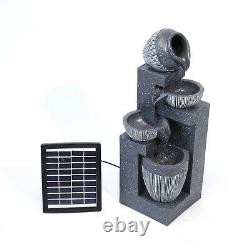 Outdoor Cascading LED Tiered Water Fountain Garden Solar Power Feature Statues