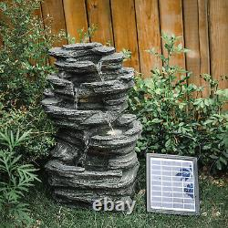 Outdoor Fountain Garden Water Feature Stone Statue with LED Light Solar / Corded