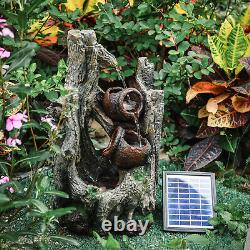 Outdoor Solar Power Polyresin Water Fountain Garden Feature with LED Lights Pump