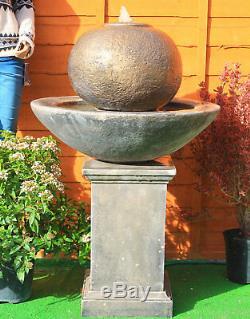 Outdoor Stone Garden Water Fountain Feature Patio Ball Fountain On Classic Plint