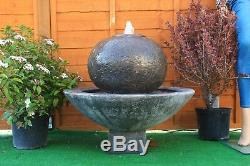 Outdoor Stone Garden Water Fountain Feature Patio Buddha Fountain Solar Pump