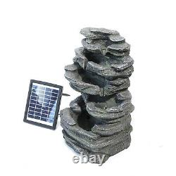 Outdoor Water Fountain Feature LED Lights Garden Stone Statue Solar Waterfall UK