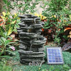 Outdoor Water Fountain Feature LED Lights Garden Stone Statues Decor Solar Power