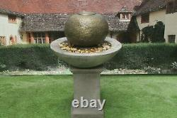 Pation Ball Fountain On Classic Plinth Water Feature Stone Garden Ornament